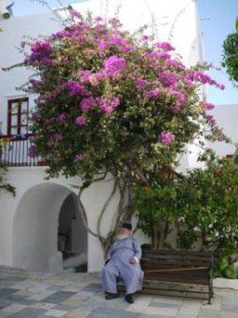 Monastery of Panayia Tourliani: courtyard of monastery with monk sitting outside