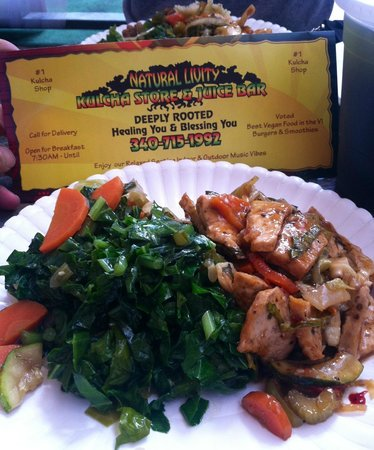 Natural Livity Kulcha Shop & Juice Bar : Lunch from the buffet selection. Tofu stir fry with side of greens
