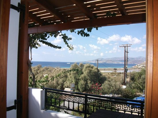 Dina Studios: View from inside terrace of Room 14 over to Paros