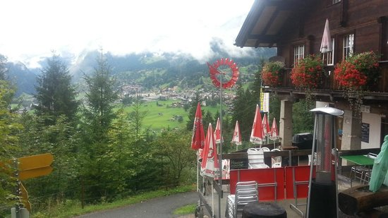 Berggasthaus Marmorbruch: Deck looking toward Grindelwald   - Marmobruch