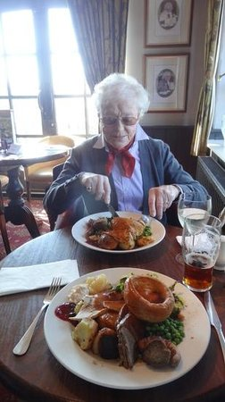 The Swan Inn: Mother, aged 90, tucking in to a giant-sized 'child's portion'.