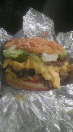 Five Guys: double with cheese grilled onions mushrooms jalapenoes lettuce and tomato!!!