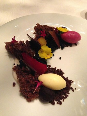 Sixteen: Beet ice cream with chocolate barley cake and espelette yogurt