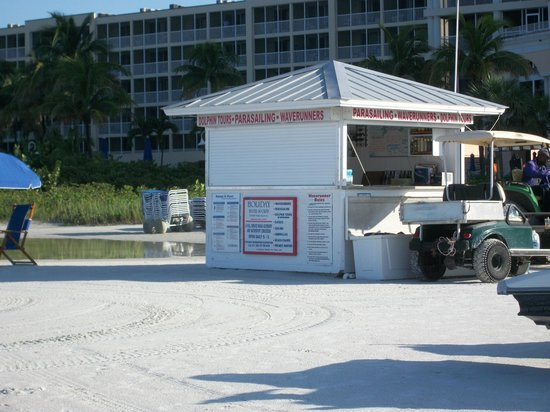 Holiday Water Sports: The Holiday Sports Kiosk. Store your stuff behind the desk.