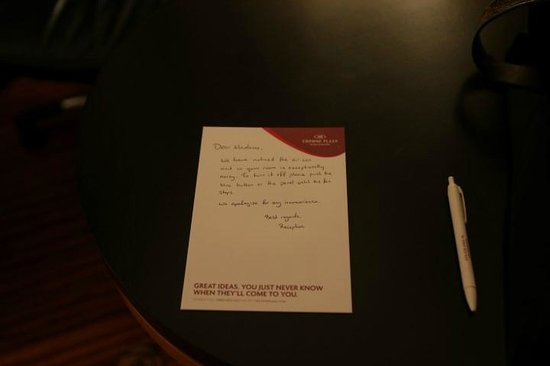 Crowne Plaza Hotel Dublin Airport: A half hearted apology....Not signed!!!!