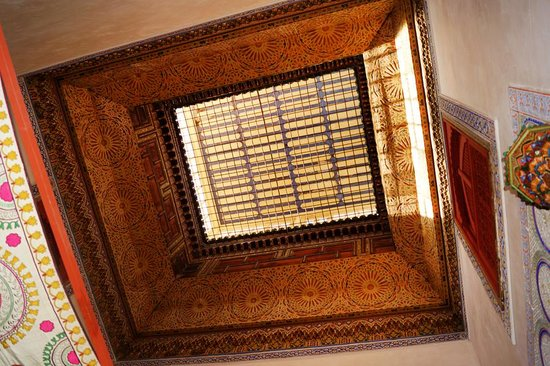 Le Jardin des Biehn: The Pasha Suite's bedroom antique skylight