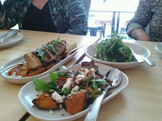 Tallwood: Pork belly with kim chi, roast pumpkin with Persian fetta & a side of organic greens - order & e