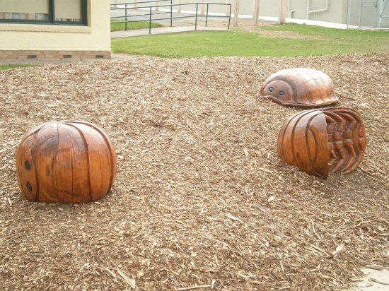 Yarra Glen Adventure Playground, McKenzie Reserve: Wooden carved giant 'slaters' to play on. (butchie-boys)