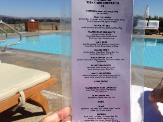 The Carneros Inn: enjoying a cocktail at the pool