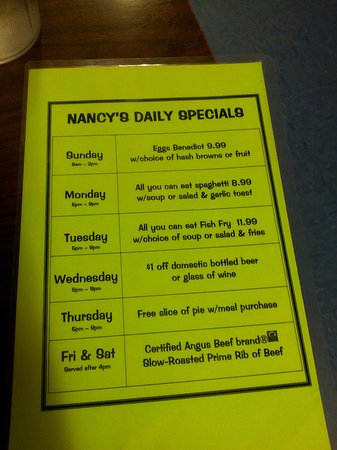 Nancy's Airport Cafe: Specials List