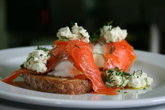 Brasserie Bread: Poached eggs, smoked trout and feta salad on sourdough