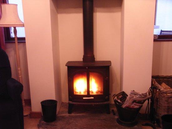 Knockaloe Beg Farm: Log fire in lounge