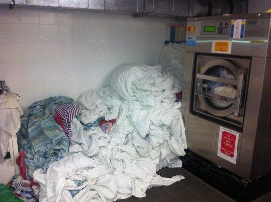 Canberra City YHA: Pile of laundry