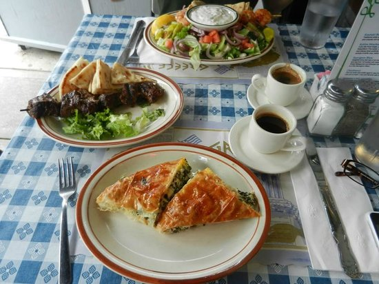 Lefteris Gyro : Salad, meat sticks, spinach pie and Greek coffee.