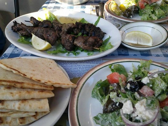 Lefteris Gyro: Greek Salad and Meat Sticks-delicious!