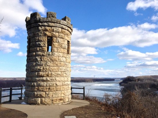 Mines of Spain Recreation Area: Dubuque Monument in the sunlight