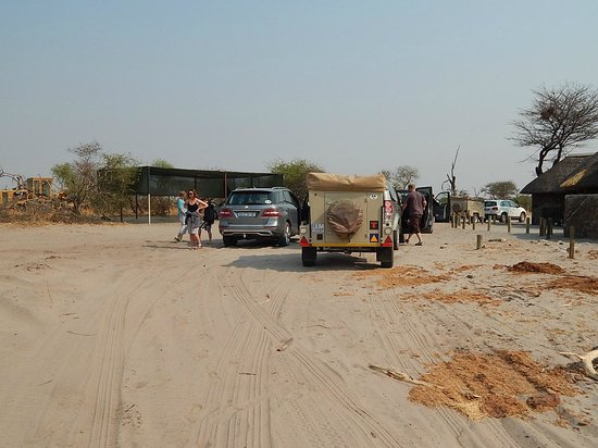 Elephant Sands Botswana: Main parking area - if you're camping its sandy.