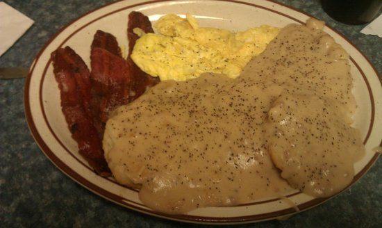 Clarence's Drive-In: Biscuits & Gravy, Turkey Bacon, and Scrambled Eggs