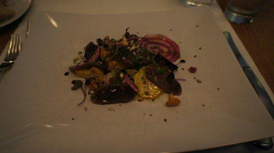 Restaurant Karljohan: Slightly salted reindeer steak with root vegetable salad