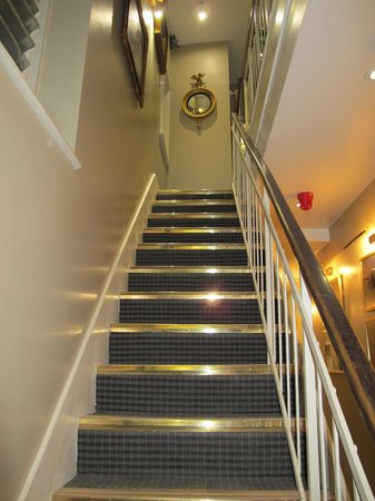 The Fielding Hotel: Narrow stairs to the first floor (one above ground level).