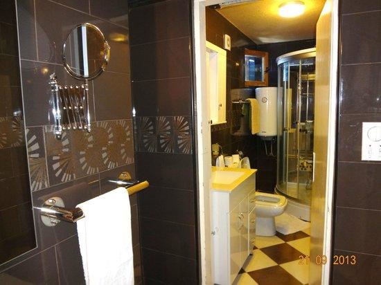 Hotel  OAZA: душевая и туалет и вторая комната со вторым  умывальником