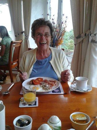 Roundhouse Mill : Mum enjoying the amazing breakfast meals.