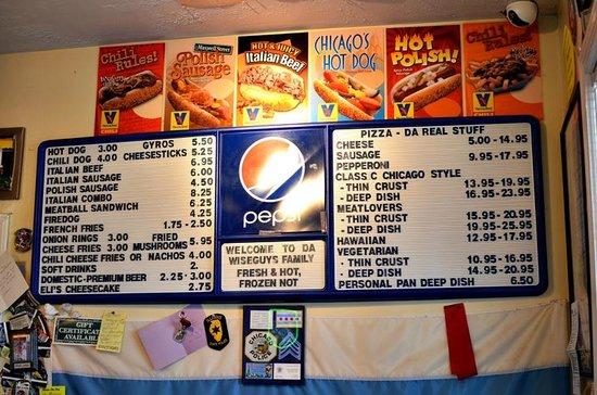 Wiseguy's Chicago Pizza: menu inside