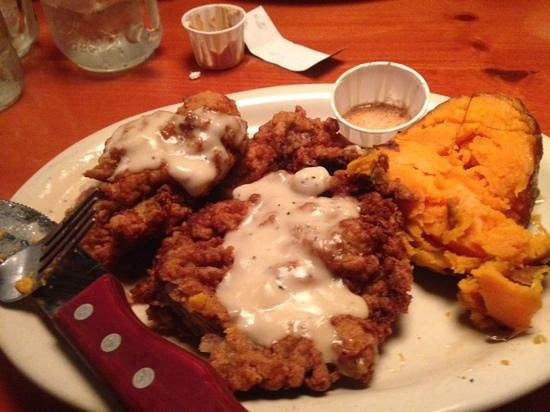Ohana J's steak & Seafood: Country Fried Steak and Baked Sweet Potato