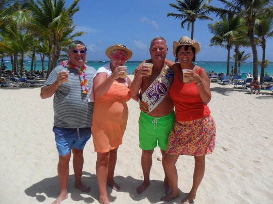 Hotel Riu Palace Punta Cana: Best holiday ever friends 50th birthday beach party with the best animation team