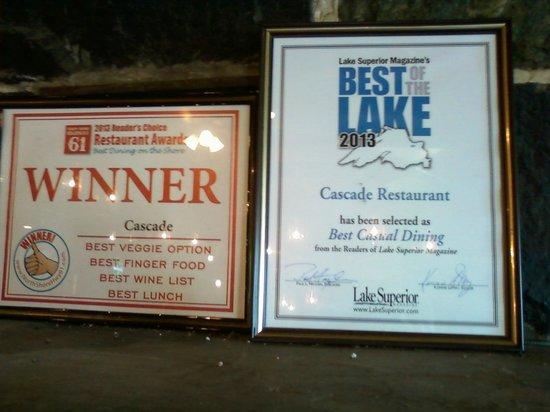 Cascade Lodge Restaurant: Awards 2013