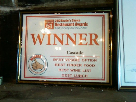 Cascade Lodge Restaurant : Award 2013