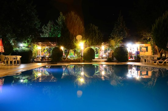 Istanbul Restaurant: View at night across the swimming pool
