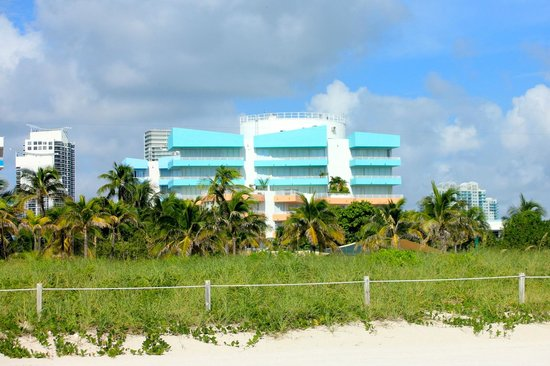 Ocean Place: View of Ocean Drive building from beach. Public park in foreground. Collins building not shown.