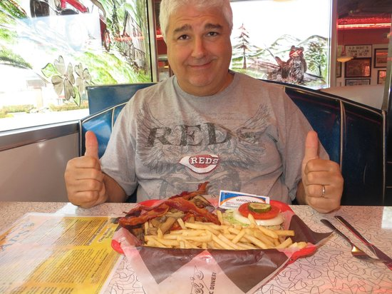 Mel's Classic Diner: My hubby getting ready to dig in