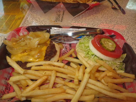 Mel's Classic Diner: My onion cheeseburger with fries