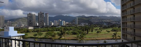 Waikiki Beach Condominiums: Looking out of our condo at the Golf Course