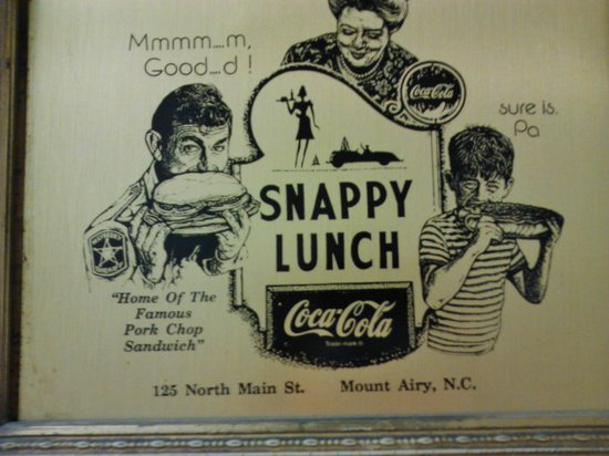 Snappy Lunch: Poster inside restaurant
