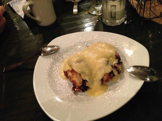 Eat-A-Pita & Cafe 2: Blueberry bread pudding with almond sauce