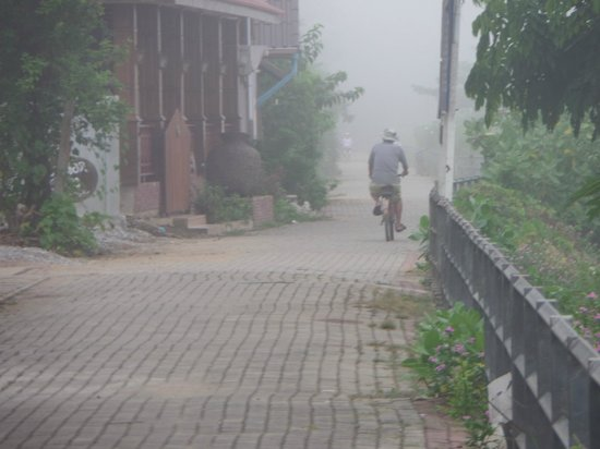 TonKong GuestHouse: Cycling into the morning mist