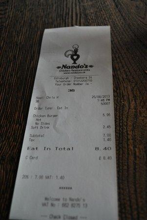 Nando's: the bill