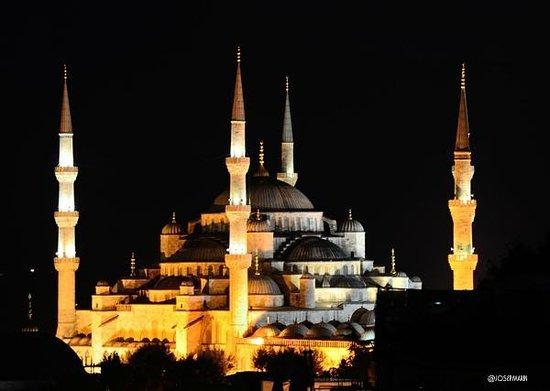 Adamar Hotel : Desde la terraza del hotel: nocturna de la Mezquita de Sultanahmet