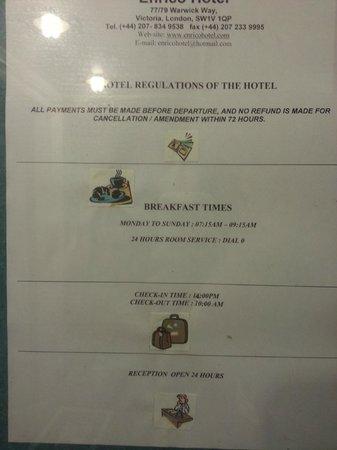 Enrico Hotel: Condiciones entrada/salida/desayuno