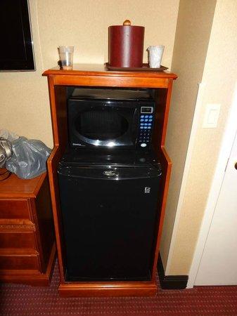 Hotel Newton: Fridge and microwave (in black)