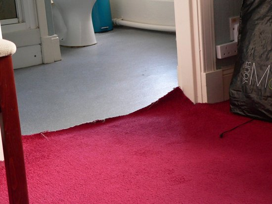The Dolphin Hotel : Upturned carpet leading to bathroom