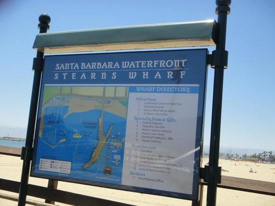 Santa Barbara Waterfront: Placa com o mapa do Pier