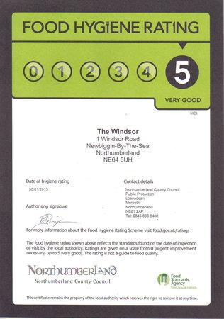 The Windsor B&B : 5 Star food hygiene