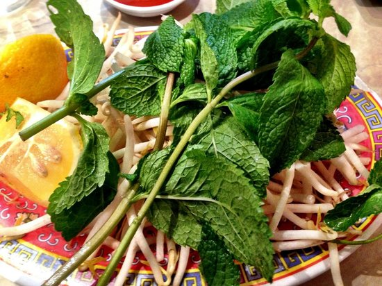 Au Bon Pho : The raw Pho ingredients on the side of course!