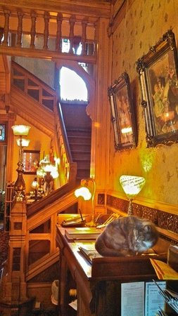 Richards House Bed and Breakfast: Front staircase with Sassy the Desk Clerk