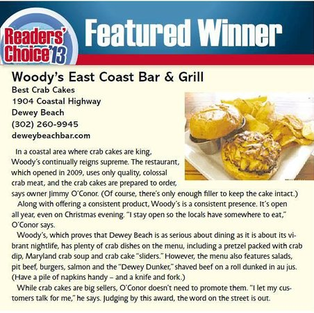 Woody's Dewey Beach Bar & Grill: Another year in a row of Best Crab Cakes in Delaware!