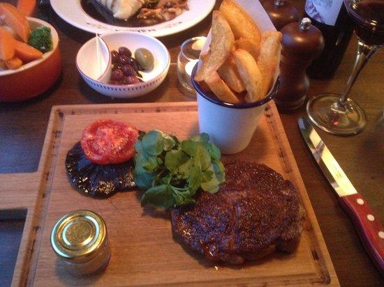 Maluca Brasserie: Ribeye steak and chunky chips.